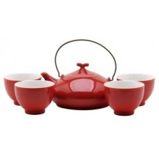 Red Tea Set: 1 Pot & 4 Cups