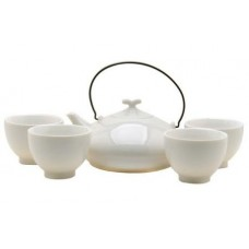 White Tea Set: 1 Pot & 4 Cups