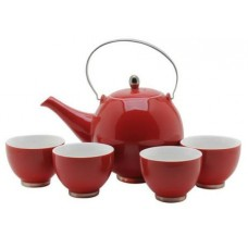 Red Tea Set: 1 Tea Pot & 4 Cups