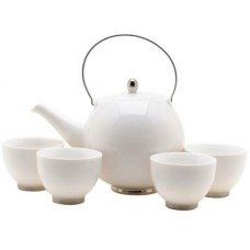 White Tea Set: 1 Tea Pot & 4 Cups
