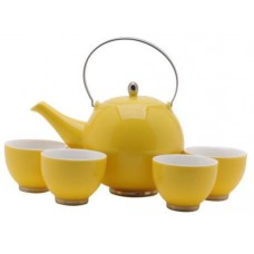 Yellow Tea Set: 1 Tea Pot & 4 Cups