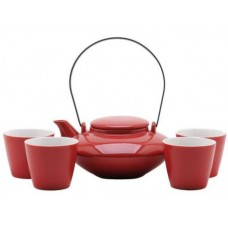 1 Tea Pot & 4 Cups - Red Tea Set