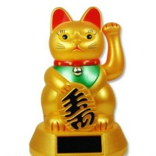 "5"" Gold Lucky Cat - Powered by Solar Battery"