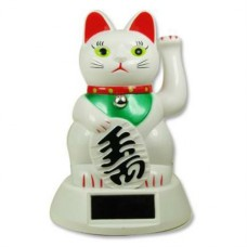 "5"" White Lucky Cat - Powered by Solar Battery"