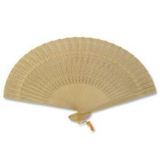"9"" Folding Fan - Wood / Carving Floral"