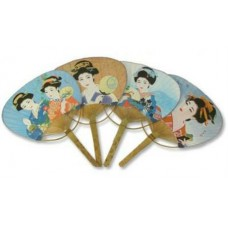"Geisha Fan - Assorted Pattern - 13.5"" Including Handle"
