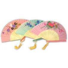 "8"" Folding Fan/Landscape - Wood & Nylon"