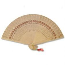 """9"""" Folding Fan - Wood"""