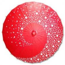 Flower Design Paper Parasol - Assorted Color