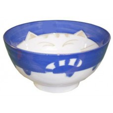"4.5"" Rice Bowl - Ceramic Blue Kitty Pattern"