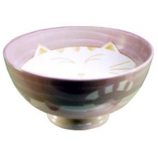 "4.5"" Rice Bowl - Ceramic Purple Kitty Pattern"