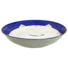 "7"" Deep Plate - Ceramic Blue Kitty Pattern"