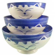 "8"" Bowl - Ceramic Blue Kitty Pattern"