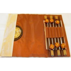 "6-Pairs of Chopsticks & 6-Pieces of (15"" x 10.5"") Table Cloth Set"