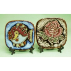 "4"" Decor Plate: Fish & Flower"