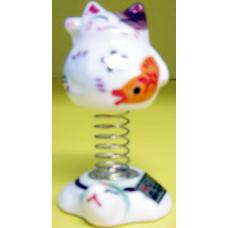Decor Ceramic Cat with Spring