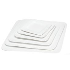 "10"" White Porcelain Square Plate"
