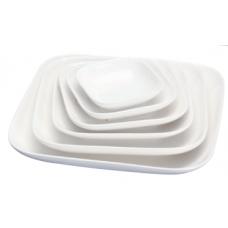 """7""""Sq x 1.5""""H White Porcelain Plate"""