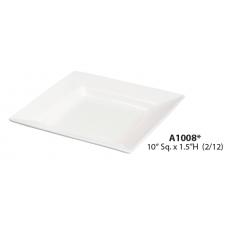 """10""""Sq x 1.5"""" H White Porcelain Plate"""
