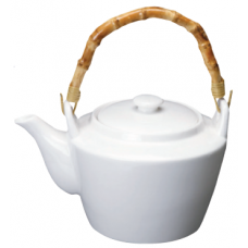 40 fl. oz. White Porcelain Tea Pot w/Bamboo Handle