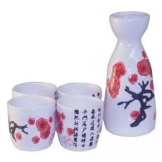 "(4) 2"" Cups & (1) 5"" Sake Server"