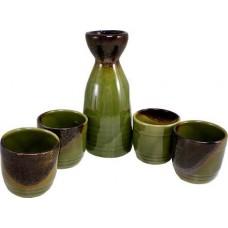 """(4) 2"""" Cups & (1) 5"""" Sake Server - Green"""