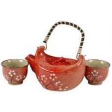 1 (10oz) Tea Pot & 2 (2oz) Cups - Red Tea Set
