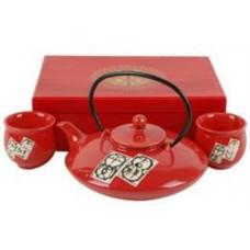 1 (30oz) Tea Pot & 2 (2oz) Cups - Red Tea Set