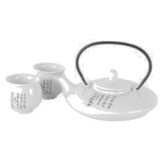 1 (30oz) Tea Pot & 2 (2oz) Cups - White Tea Set