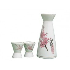 "(2) 2"" Cups & (1) 6"" Sake Server - Pink Flower Design"