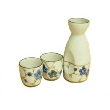 "(2) 2"" Cups & (1) 5"" Sake Server - Blue Flower Design"