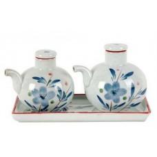 3pc Soy/Vinegar Set - Blue Flower Design