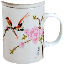 12-oz. Ceramic Tea Cup with Strainer and Lid (Bird & Flower)