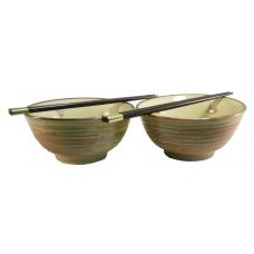"2 5.75"" Rice Bowls & 2 Pairs Chopsticks"
