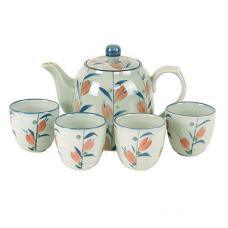 Tea  Set: (4) 4 oz Cups; (1) 32 oz Pot