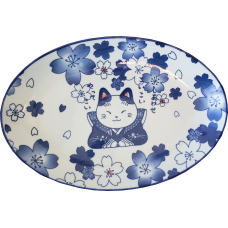"Happy Cat 12"" Oval Plate"