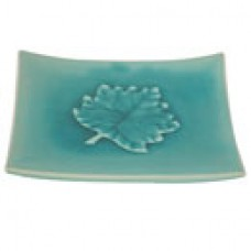 "6 3/4"" Square Plate - Blue w/Leaf Design"