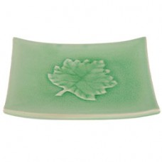 "6 3/4"" Square Plate - Green w/Leaf Design"