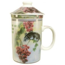 "12oz (4 1/4""H) Tea Cup w/Lid & Strainer - Chinese Zodiac ""Rat"""