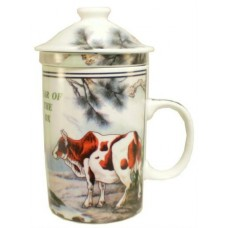 "12oz (4 1/4""H) Tea Cup w/Lid & Strainer - Chinese Zodiac ""Ox"""
