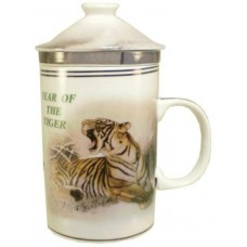 "12oz (4 1/4""H) Tea Cup w/Lid & Strainer - Chinese Zodiac ""Tiger"""