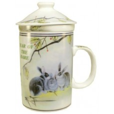 "12oz (4 1/4""H) Tea Cup w/Lid & Strainer - Chinese Zodiac ""Hare"""
