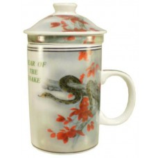"12oz (4 1/4""H) Tea Cup w/Lid & Strainer - Chinese Zodiac ""Snake"""