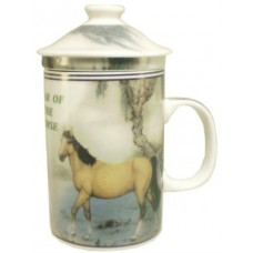 "12oz (4 1/4""H) Tea Cup w/Lid & Strainer - Chinese Zodiac ""Horse"""