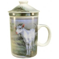 "12oz (4 1/4""H) Tea Cup w/Lid & Strainer - Chinese Zodiac ""Goat"""