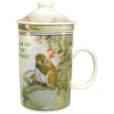 "12oz (4 1/4""H) Tea Cup w/Lid & Strainer - Chinese Zodiac ""Monkey"""