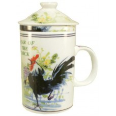 "12oz (4 1/4""H) Tea Cup w/Lid & Strainer - Chinese Zodiac ""Rooster"""