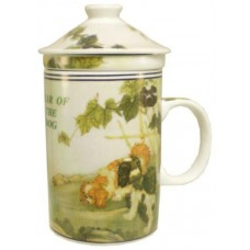 "12oz (4 1/4""H) Tea Cup w/Lid & Strainer - Chinese Zodiac ""Dog"""