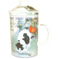 "12oz (4 1/4""H) Tea Cup w/Lid & Strainer - Chinese Zodiac ""Pig"""