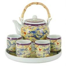 """24oz Tea Pot; 4 (4oz) Cups Set; 9"""" Tray"""